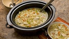 Take a bite out of the wintertime chill with a hot bowl of chicken noodle soup that has cooked all day long! The longer cook time intensifies the flavor.
