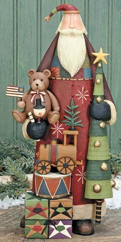 Santa With Gifts Figurine – Christmas Folk Art & Holiday Collectibles – Williraye Studio - $65.00