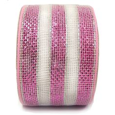 """Striped Metallic Deco Poly Mesh® Ribbon  Pink, White 4"""" in width; 25 yards - see more colors at www.trendytree.com"""