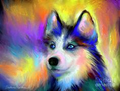 Electric Siberian Husky dog pinned By http://Barkingstud.com