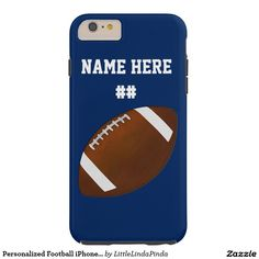 Personalized iPhone 6S Plus Football Case Tough design. For other styles CLICK: http://www.zazzle.com/personalized_football_iphone_6s_plus_case-179966522183588268?rf=238147997806552929 Change to your team or favorite colors and YOUR TEXT. Football stuff,  CLICK HERE: http://www.zazzle.com/littlelindapinda/gifts?cg=196532339247083789&rf=238147997806552929  CALL me, Linda, to make design changes for you or for HELP: 239-949-9090