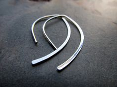 Modern Curved Earrings. Argentium Sterling by phoenixmtncreations