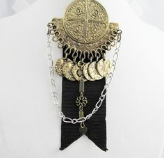 Altered Art Steampunk Medal with a vintage brooch focal Victorian styling costume fun fashion Airship Captain