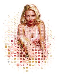 """A mosaic portrait of Scarlett Johansson inspired by the movie HER for the Spanish magazine QUO (Hearst Espana).  Best viewed large. Attention: Big file. (9728 x 12544 pixels= 32.4"""" x 41.8"""" @ 300 ppi) Alternately you can zoom in to the high res (122 megapixels) file with Microsoft ZoomIt.  Made with custom developed scripts, hacks and lots of love, using my Mac, Studio Artist, the Adobe Creative Suite and good music.   See all my Editorial illustrations."""