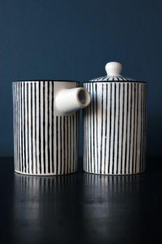 Porcelain Penstripe Milk & Sugar Pots