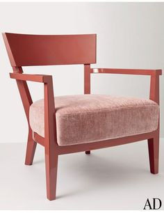 Sally Armchair with cheerful salmon-solid wood frame by Flexform