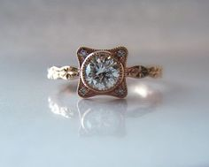 Square setting around stone   Diamond Engagement Ring Hand Engraved 14K Rose Gold Star Pattern