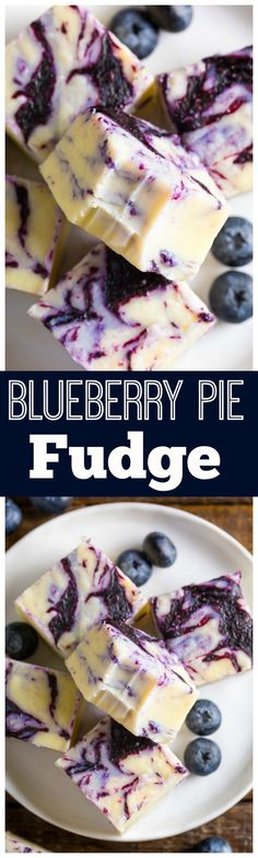 Homemade Blueberry Pie Fudge is rich, creamy, and so easy! Made with just 7 ingredients.