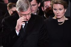 Sorrow: King Philippe of the Belgians wipes away a tear, with Queen Mathilde during the funeral service for his aunt Queen Fabiola