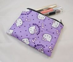 Purple Kitty Fabric Make Up Bag or Pencil Case - Free P £7.50