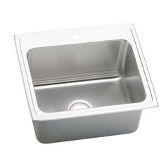 Lustertone Perfect Drain Drop-In Stainless Steel (Silver) 25 in. 1-Hole Single Basin Kitchen Sink