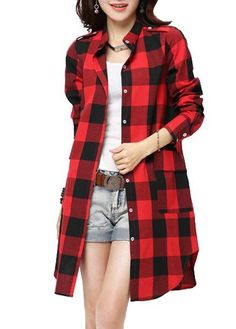 Plaid Print Long Sleeve Red Curved Shirt on sale only US$26.05 now, buy cheap Plaid Print Long Sleeve Red Curved Shirt at lulugal.com