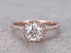 1ct brillant Moissanite bague de fiançailles en or Rose par popRing