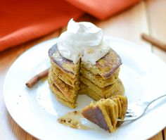 Celebrate fall all year round with Pumpkin Spice Pancakes! They're easy to make in just one-bowl and are naturally gluten-free dairy-free and nut-free so just about anyone can enjoy them. Gluten Free Oats, Gluten Free Recipes, Nut Free, Dairy Free, Pumpkin Spice Pancakes, Real Food Recipes, Yummy Food, Diet Recipes, Tasty Pancakes