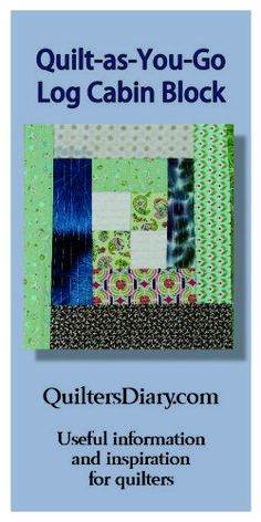 """Quilt as you Go Log Cabin Block ~ """"Once I got the hang of quilting each strip immediately after I sewed it on, the blocks went together very quickly. I like the modern look the grid quilting gives the blocks. And I love using up scraps! Did I make any impact on the size of my scrap pile? No. But it still felt satisfying to work from my stash instead of buying new fabric."""" http://quiltersdiary.com/log-cabin-quilt-as-you-go-block/"""