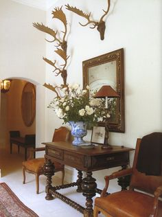Entry hall in a Portuguese-style country house in Montecito by Michael S. Smith.