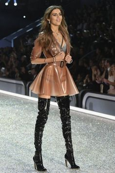 """ad7f6313bda fashion-boots  """"Valery Kaufman walks the runway in the 2016 Victoria s  Secret Fashion Show in Paris """". Transparent latex skater dress and black  thigh boots ..."""