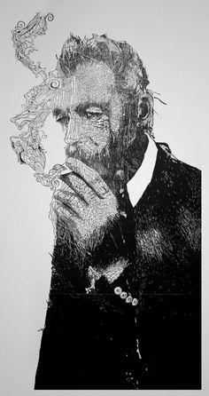 Linocuts by Hubert Tereszkiewicz portraits linocuts illustration