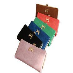 Women Nubuck Leather Bowtie Long Wallet - Gchoic.com #bags #women #fashion #discount #popular #purse #handbags