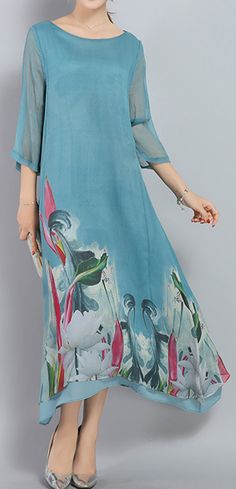 US$ 36.99 Vintage Printed Irregular Hem 3/4 Sleeve Women Mid-Long Dresses