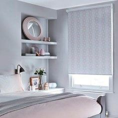 Blush pinks and beautiful shades of grey create a wonderful decor scheme in any room. Patterns, metallic and woven fabrics in similar shades add interesting focal points to a room. Our Sphere Blush Roller blind from the exclusive collection with Blush Bedroom, Pink Bedroom Decor, Pink Bedrooms, Gray Bedroom, Bedroom Colors, Bedroom Ideas, Blush Pink And Grey Bedroom, Modern Bedrooms, Bedroom Apartment