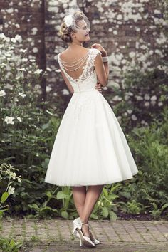 Weddings & Events Qualified 60s Vintage Short Tea Length Wedding Dresses Simple Scoop Neck Ball Gown Satin Reception Women Second Wedding Bridal Gowns