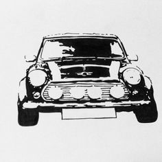 1967 Mini cooper S black ink for a lucky lady illustration #minicooper #blackink