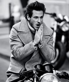 Portrait of Garpard on his bike :-) styled by Ulliel Gaspard, Saint Laurent 2014, Male Model Face, Hannibal Rising, Kylie Scott, Chanel Men, French Models, Moto Style, Male Poses