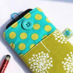 iPhone case or smartphone sleeve - 'Dandelion Clocks' - Green - FREE UK P £7.95