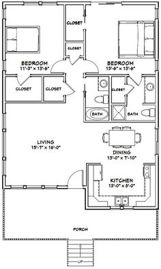 Shop House Plans - 16 Shop House Plans, 2 Bedroom 2 Bath Barndominium Floor Plan for 30 Foot Wide The Plan, How To Plan, 2 Bedroom House Plans, Shop House Plans, Two Bedroom Tiny House, 2 Bedroom House Design, Small Bedrooms, Korean House, 30x40 House Plans