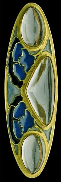 Lalique 1903-04 signed Brooch: gold, plique-à-jour enamel, crystal: fitted case