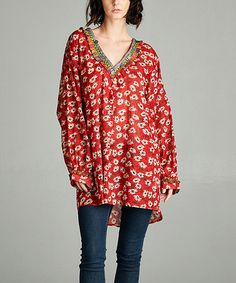 Look what I found on #zulily! Red V-Neck Tunic - Plus #zulilyfinds