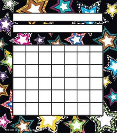 Teacher Created Resources Fancy Stars Incentive Charts Fill up charts with mini stickers to motivate students to do their best. Record progress in homework, classroom assignments, attendance, or good behavior.