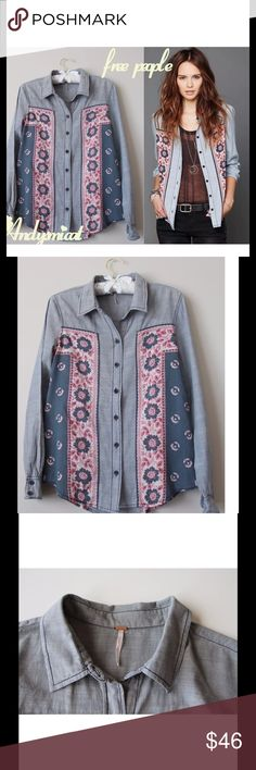 Coming Soon, Free People Anthropologie printed S size,Cotton shirt,great condition Free People Tops Blouses