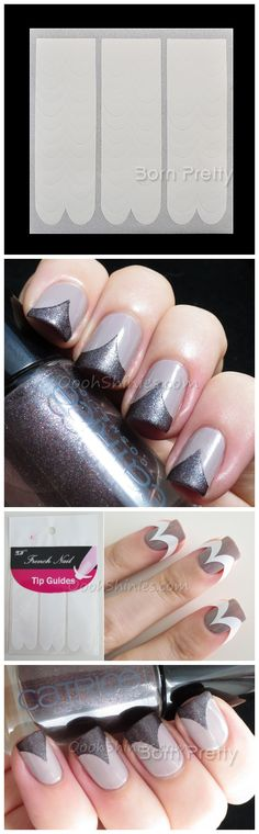 $1.58 1 Sheet Practical French Manicure Wave Edge Tip Guides Nail Art Toes - BornPrettyStore.com