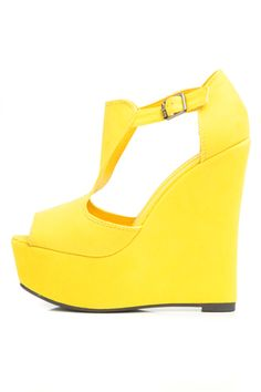 Yellow Wedge Heel Shoes | Tsaa Heel