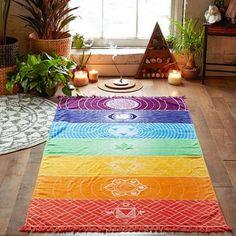 150*75 cm Fashion  Summer Rainbow Colorful Beach Yoga Towel Shawl Wrapped Skirt Bath Towel