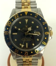 ROLEX 16753 TWO TONE 18K GOLD GMT SUBMARINER BLACK DIAL POLISHED & SERVICED 1982 #Rolex