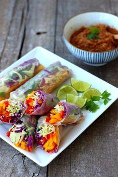 rainbow vegetable rolls + spicy peanut sauce