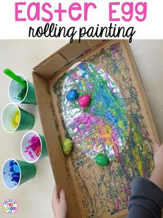 Process art for Easter... egg rolling art. Plus peeps 5 senses and taste test FREEBIE. For preschool, pre-k, and kindergarten. #artsandcraftshouse,