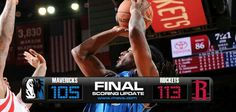 (1-1) Mavericks 105-113 Rockets (2-0)