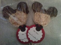 Mickey Mouse Rice Krispie treats with Chocolate Ears -