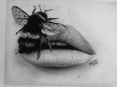bee ll good day today Bee Drawing, Shading Drawing, Pencil Shading, Pencil Drawings, Drawing Faces, Lana Del Rey Lips, Tattoo Shading, Stippling Art, Bee Art