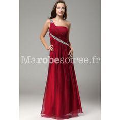 Magnifique robe de soirée longue une bretelle asymétrique rouge framboise pas cher pour mariage, et les demoiselles d'honneur et les mères de mariée