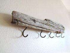 23 inch Driftwood Coat Rack- Five Hooks for hanging keys, coats, or bags. $35.00, via Etsy.