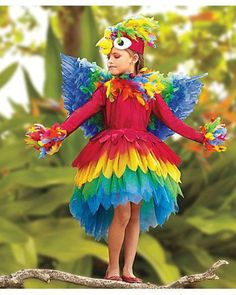 Parrot Costume- Halloween Goals for the girls. Baby Costumes, Cool Costumes, Dance Costumes, Amazing Costumes, Parrot Costume, Costume Dress, Flower Costume, Costume Makeup, Fantasias Up