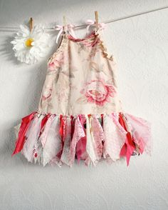 Pink Fairy Dress Toddler Clothing 4T Eco Clothing Princess Birthday Vintage Lace Children's Clothes Tattered Style 'ALLY'