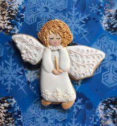 """Кулинарные сувениры ручной работы. Ярмарка Мастеров - ручная работа. Купить Имбирный пряник """"Ангел"""". Handmade. Белый, ангелок"""