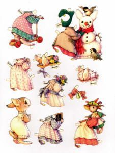 Free Bunny Paper Dolls With 2 Dolls and 2 Pages of Clothing