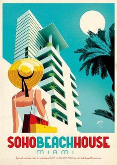Illustrated poster by Jonas Bergstrand for Soho Beach House, Miami.